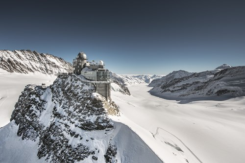 The summit of the Jungfrau accessible from Grindelwald near Zurich