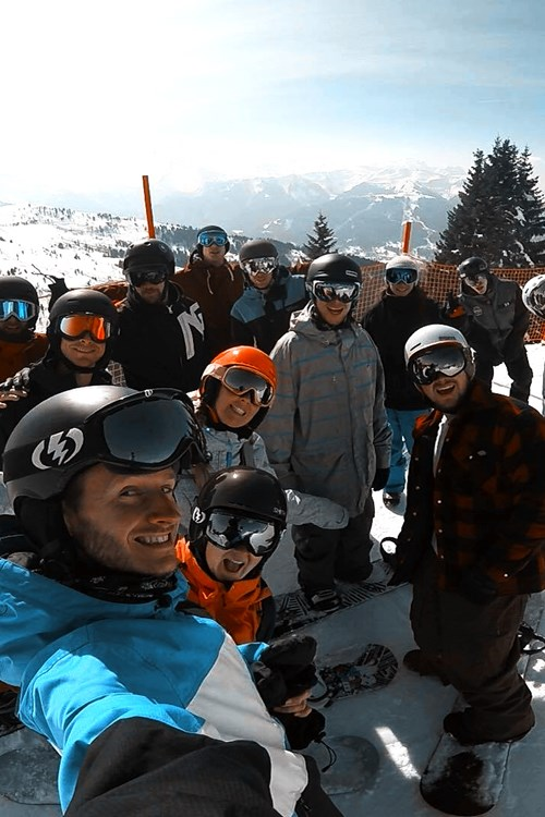 group of skiers, big group ski holiday, group skiing