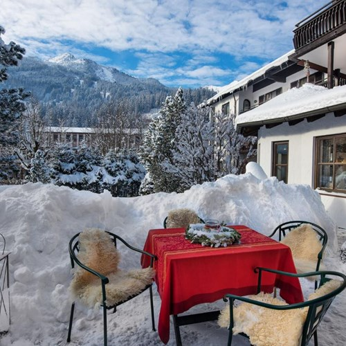 Hotel St Georg, Ski Accommodation in Bad Hofgastein, Austria, snowy terrace