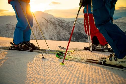 sunset corduroy in Myrkdalen, ski in Norway
