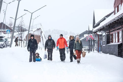 Walking through Geilo surrounded in snow, ski Norway