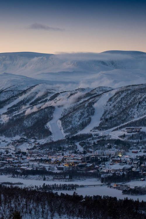 Geilo ski resort at dusk, ski Norway