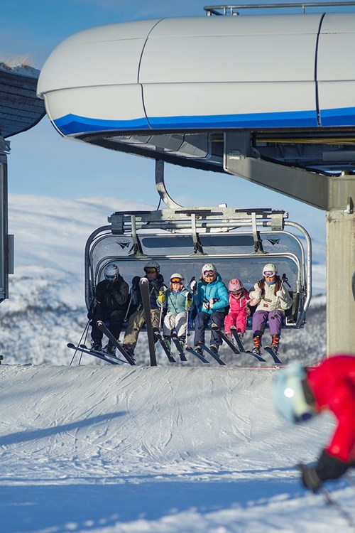 Getting off a chairlift in Geilo, Norway