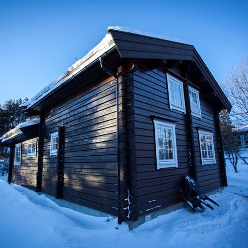 Bardola log cabins in the snow, Geilo ski resort, ski Norway