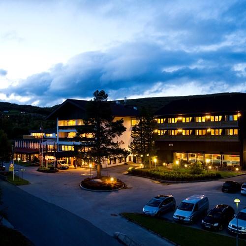 hotel exterior at night, Hotel Bardola, Geilo ski resort, Norway