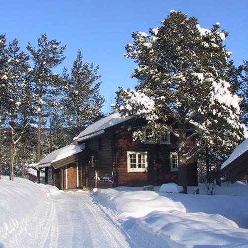 Bardola log cabin exterior in snowy trees, Geilo ski resort, Norway