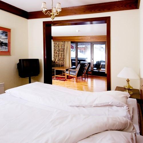 suite bedroom at the Hotel Bardola, Geilo ski resort, Norway