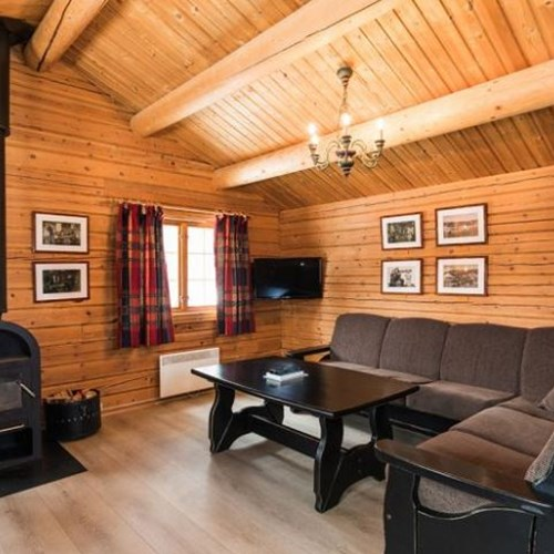 Bardola log cabins-Geilo-Norway-lounge area with log fire
