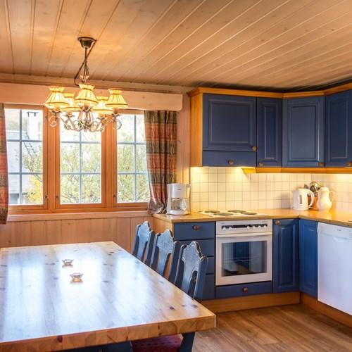 cabin kitchen and dining area, Geilolia cabins-Geilo ski resort, Norway