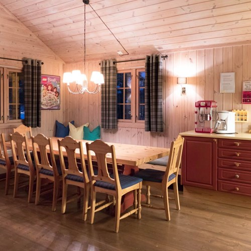 dining area of a 12 bed cabin in Geilolia cabins-Geilo ski Norway