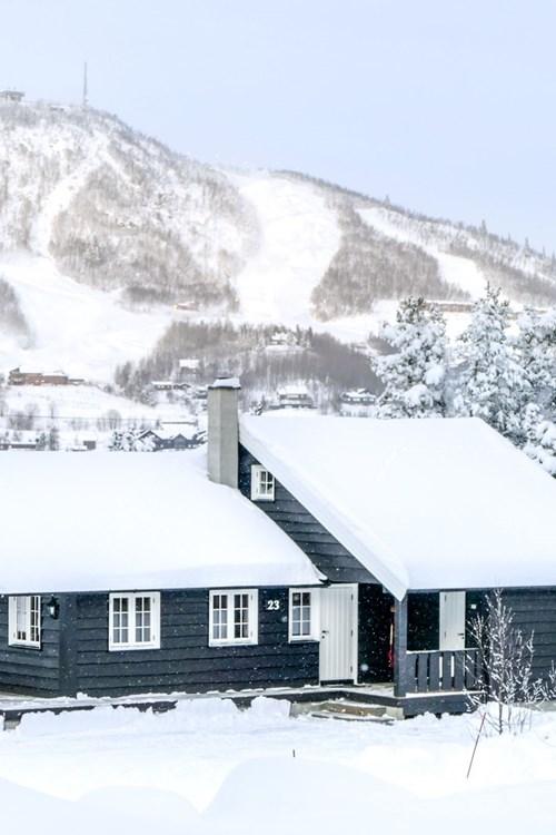 Geilolia cabins-Geilo ski resort, Norway-snowy exterior of cabin