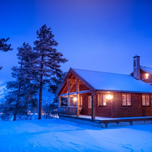 Geilolia cabins in the snow at night-Geilo ski resort, Norway
