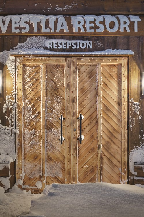 Front door at Vestlia resort ski hotel, Geilo, Ski Norway