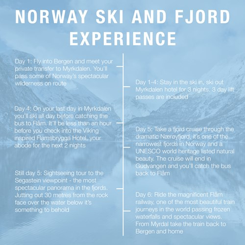 Norway ski and fjord experience-5 day itinerary-Ski Myrkdalen and Flam
