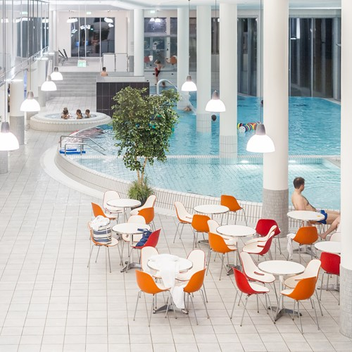 seating around the pool at the Radisson Blu resort Trysil