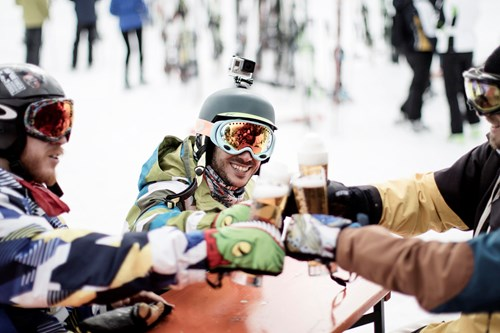 Madonna di Campiglio ski resort-Italy-beers on the mountain