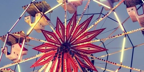 london ski show-vintage ferris wheel