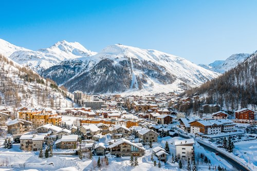 view of val d'isere in the snow