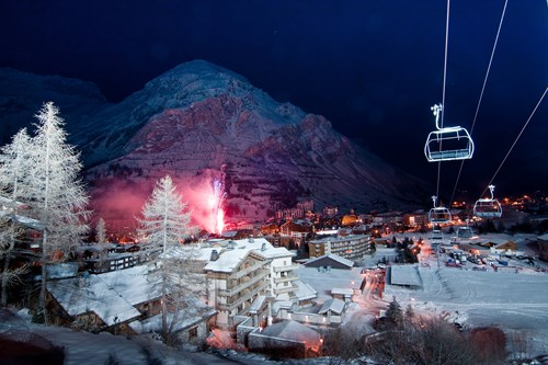 Val d'Isere-France-chairlift into village at night