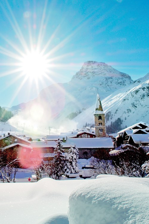 Val d'Isere-France-snow covered village and blue sky
