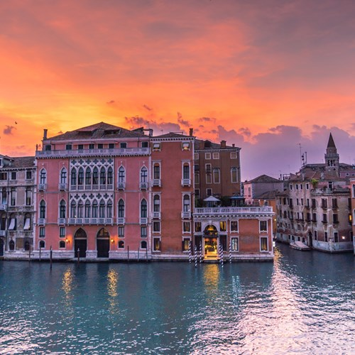 Venice-Italy-multicentre-pink buildings at sunset