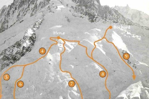 Chamonix ski guides-off-piste skiing-grands montets below the glacier