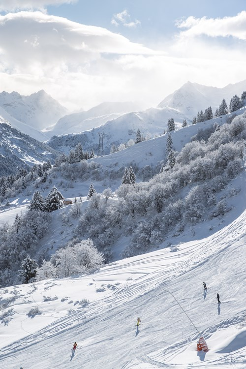 Meribel ski weekends Three Valleys wide slope mountain snow view