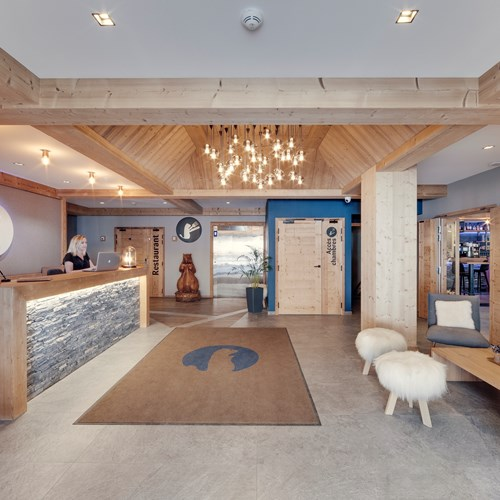 Hotel L'Avancher in Val d'Isere ski resort reception