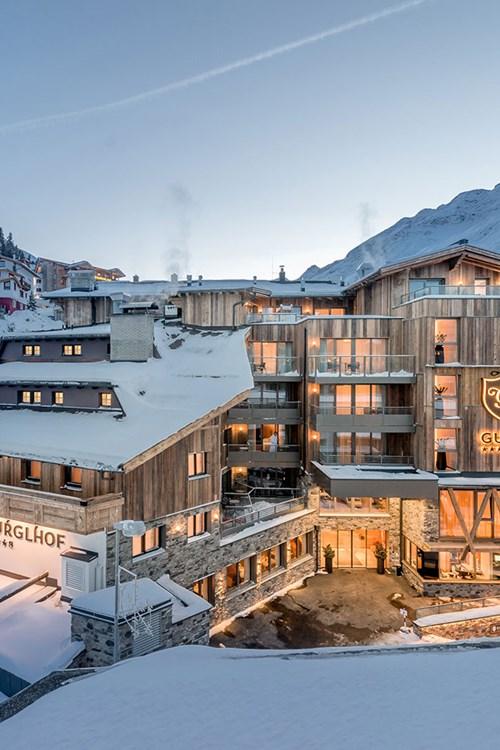 Ski Hotel Gurglhof in Obergurgl, snowy exterior