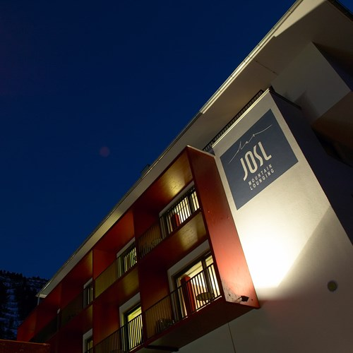 Exterior sign of the Hotel Josl in Obergurgl, Austria
