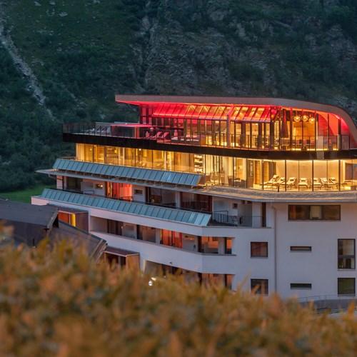 outside of the Hotel Josl, ski accommodation in Obergurgl