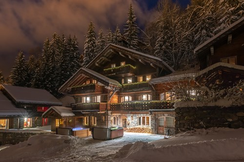 Chalet Ophelia, ski chalet in Meribel, exterior at night