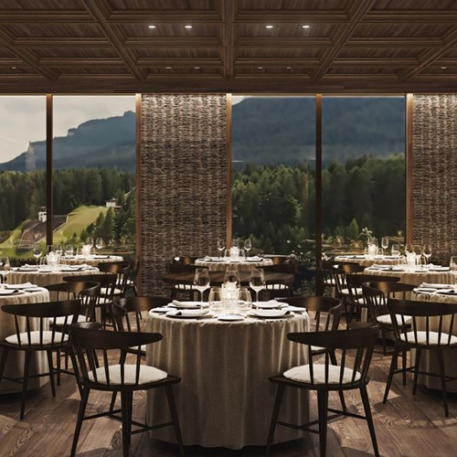 Faloria Mountain Spa Resort, Cortina ski hotel, views from the restaurant