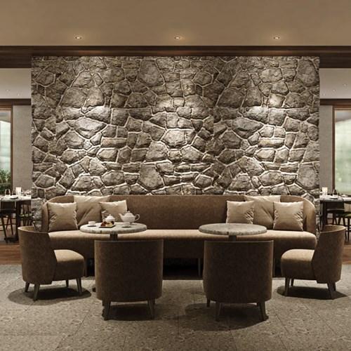 Faloria Mountain Spa Resort, Cortina ski hotel, stone wall in the bar