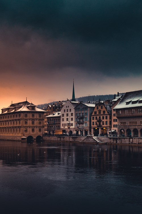 Buildings on the river in zurich-ski resorts near Zurich