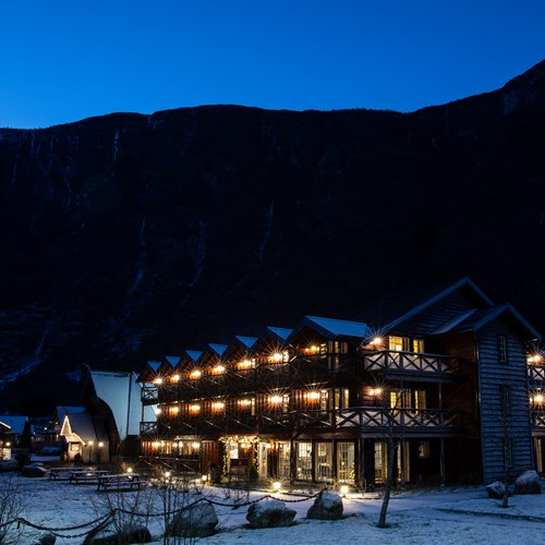 Hotel exterior night Flamsbrygga Hotel in Flam, Norway