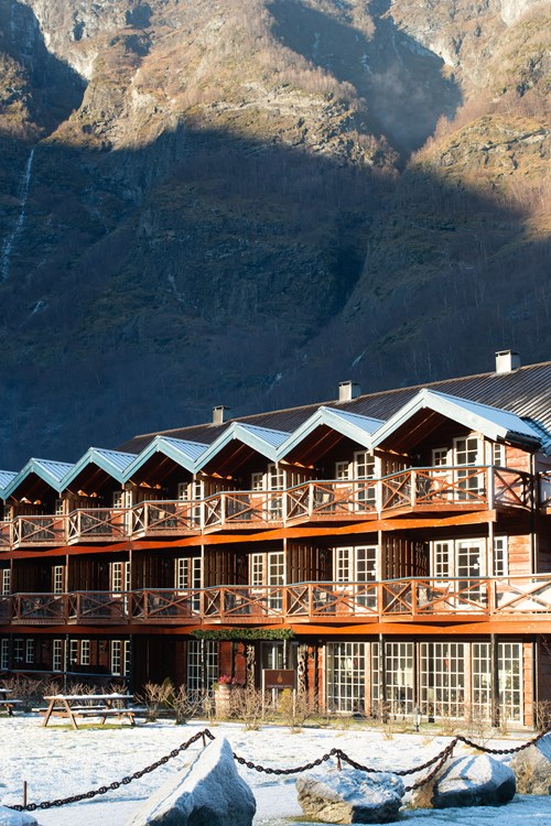 snowy exterior Flamsbrygga Hotel in Flam, Norway
