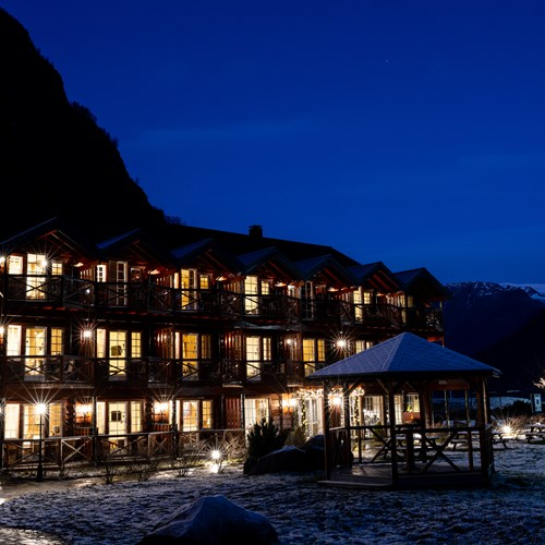 Flamsbrygga Hotel in Flam, Norway - hotel exterior at night