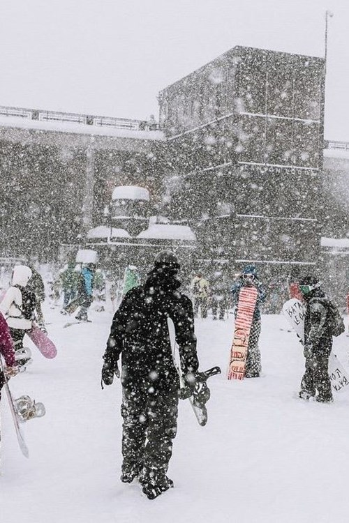 Heavy snowfall at Mammoth Mountain USA