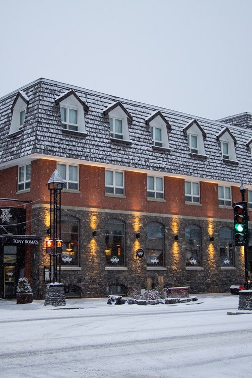 Mount Royal Hotel in Banff covered in snow