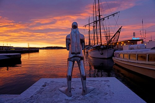 Sunset at the dock in Oslo, Norway