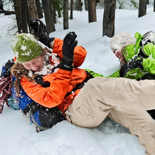 Snowball fight with crampons on in Banff.jpg