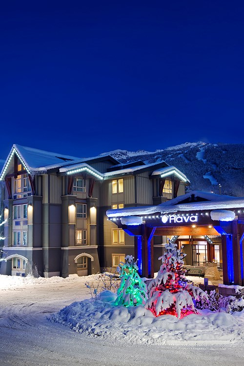 winter exterior in snow Hotel Aava Whistler