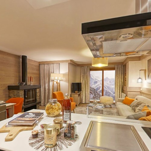 l'hévana apartments in Meribel, kitchen to lounge area