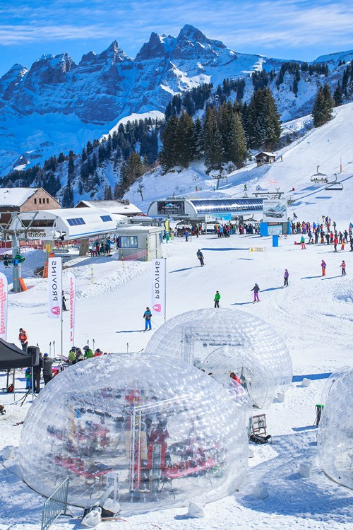 blow up igloos in Champery, Switzerland