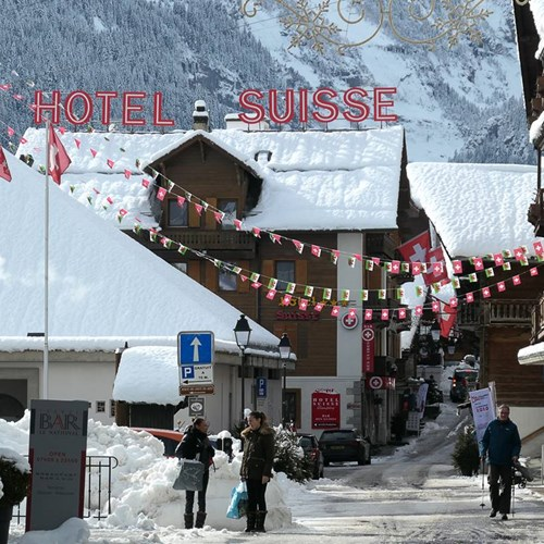 snow covered roof of the Hotel Suisse in Champery