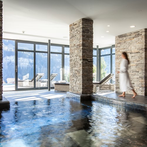 Indoor pool and spa at Hotel National in Champery