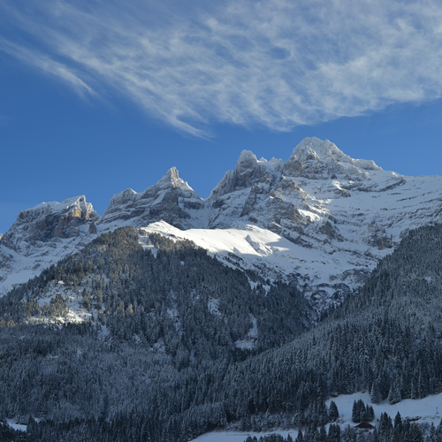 View of the dents du midi from Hotel National in Champery