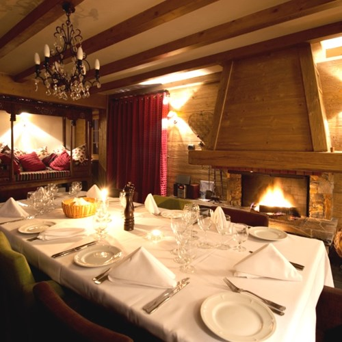 Dining room of Vieille Forge, catered ski chalet in Courchevel 1850