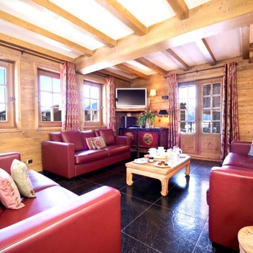 Living room at catered ski chalet in Courchevel 1850